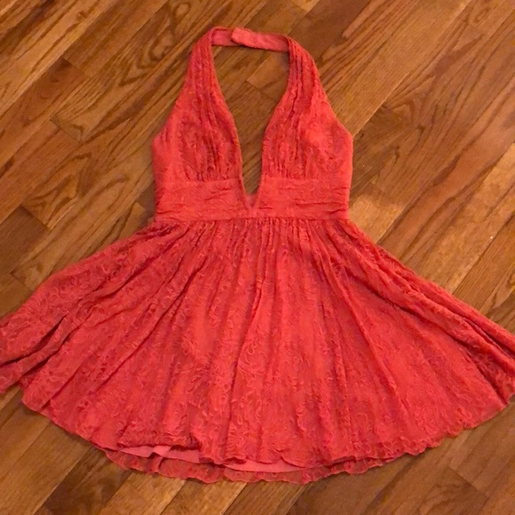 Free People Dresses & Skirts - Pink Halter Dress with Embroidered Overlay